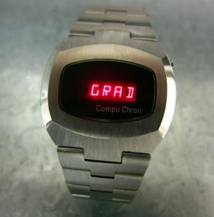 "RARE 1976 COMPUCHRON LED DIGITAL MESSAGE MODULE WATCH. ""GRAD CLASS OF 1976"