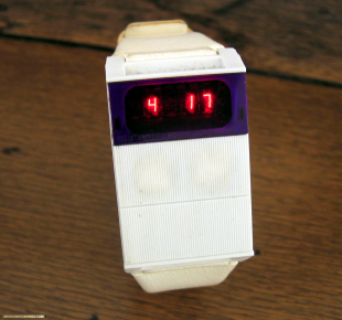White Sinclair prototype LED watch.